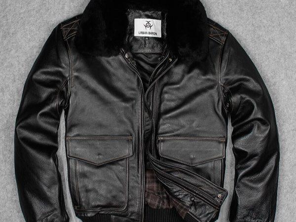 Autumn-Winter-A2-Cow-Genuine-Leather-Pilot-Jackets-Mens-Short-Slim-Thick-Wool-Collar-Coat-Plus